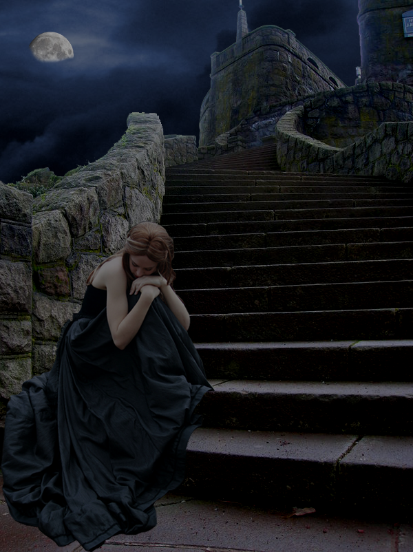 castle stairs photo manipulation