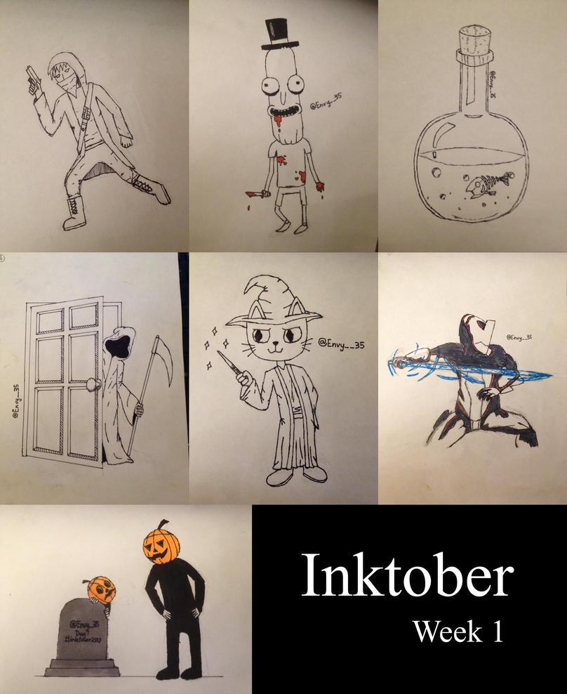 Inktober 2017 Day 1 to 7 by EnvyMan35