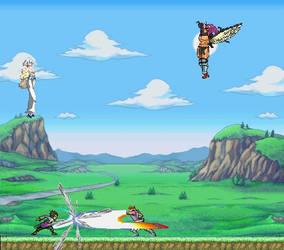 Sasuke v. Strider and Ragyo v. Kars sprite battle by hakuxtemari