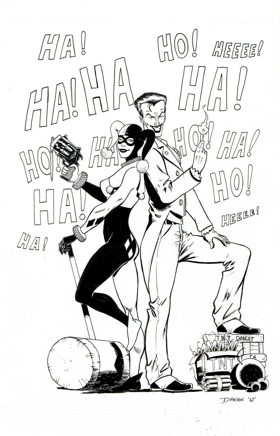 Joker And Harley Quinn (inked Version) by frankdawsonjr
