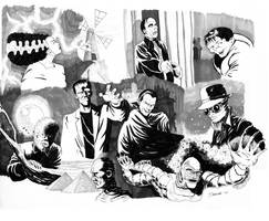 Universal Monsters Conglomeration sketch! by frankdawsonjr