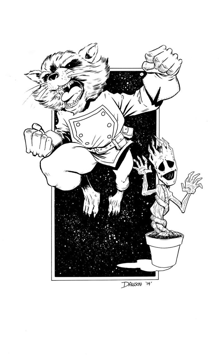Rocket Raccoon and Baby Groot! by frankdawsonjr