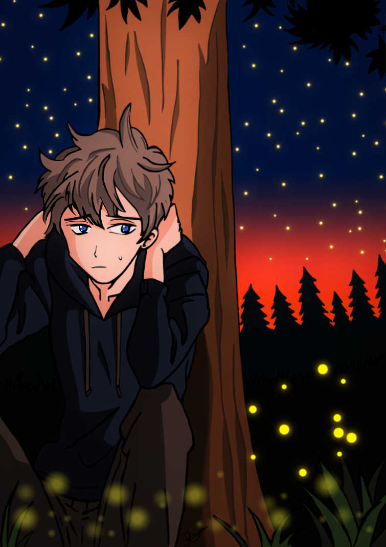 Sad Boy Sitting Under A Tree Anime By Xxlonewolfguyxx On Deviantart