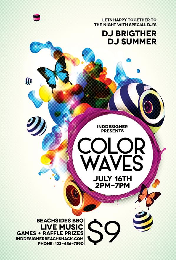 Color Waves Flyer by inddesigner