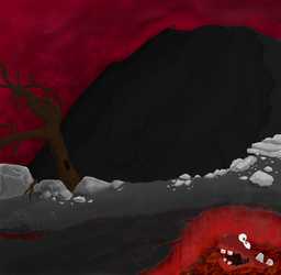 Lava / rock landscape background or something