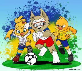 FIFA Mascots (and Canarinho) by joaoppereiraus