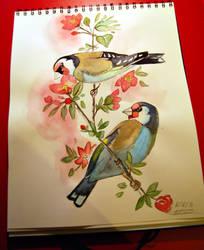 Watercolor european goldfinch by Einonne
