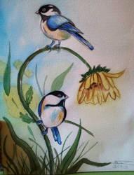 Watercolor great tit by Einonne