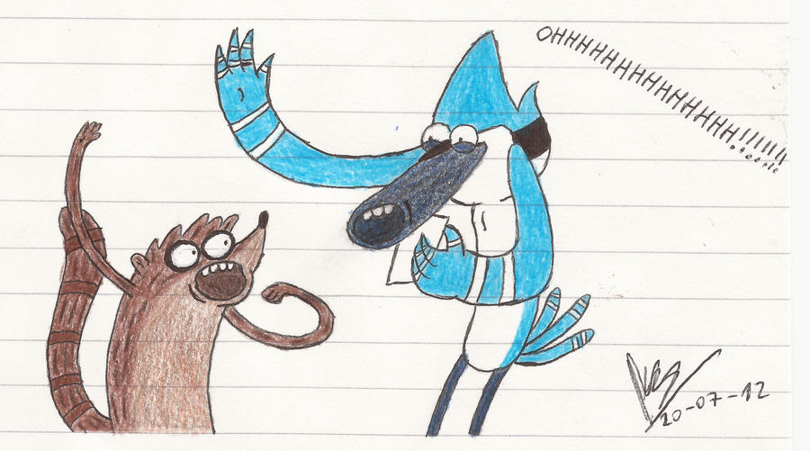 Mordecai and Rigby OHHHHHHHHHHHHHHHHHHHHHHH!!!!!!! by abrilmazziotti