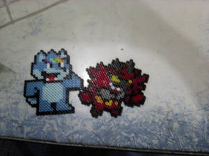 Perler Beads Moon and Incineroar