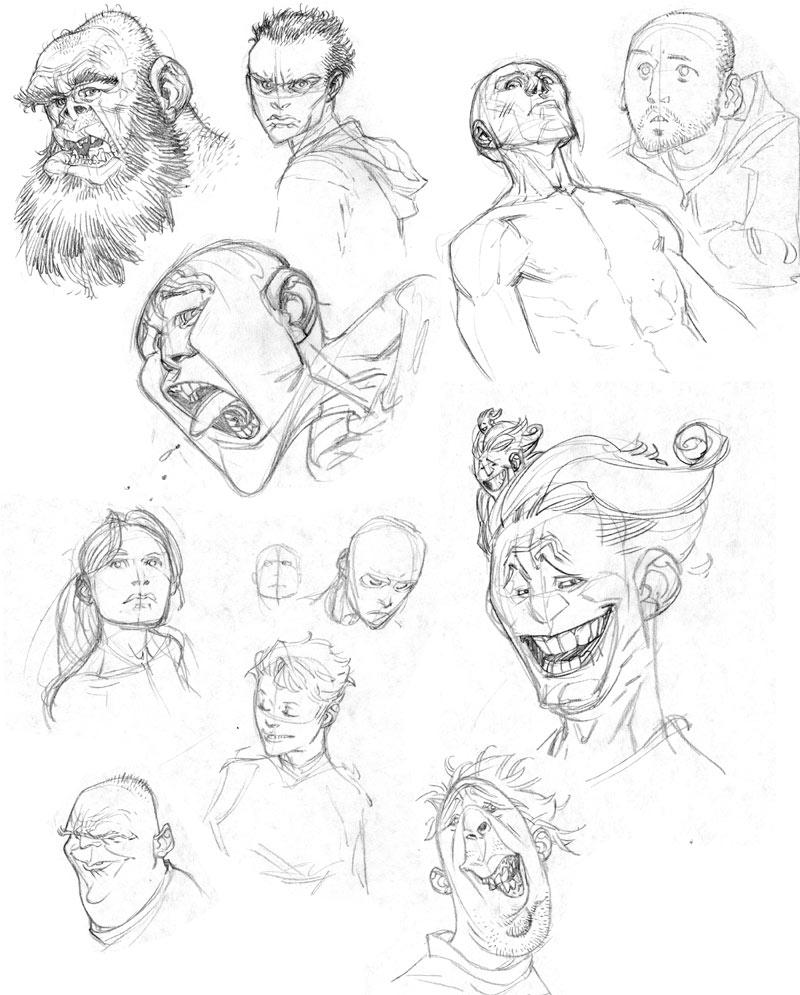 head sketches by ryanottley on deviantart