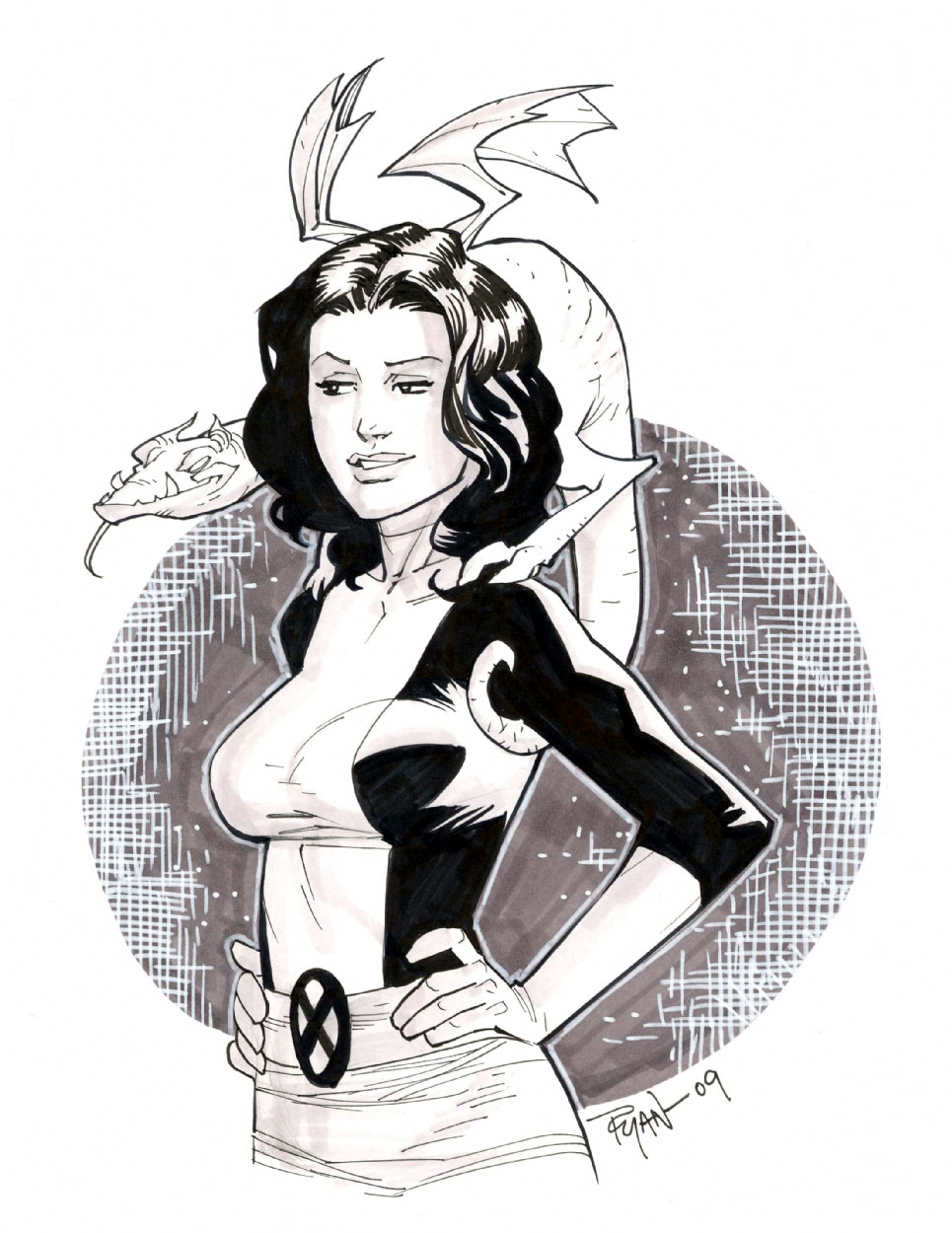 Kitty Pryde Lockheed sketch by RyanOttley