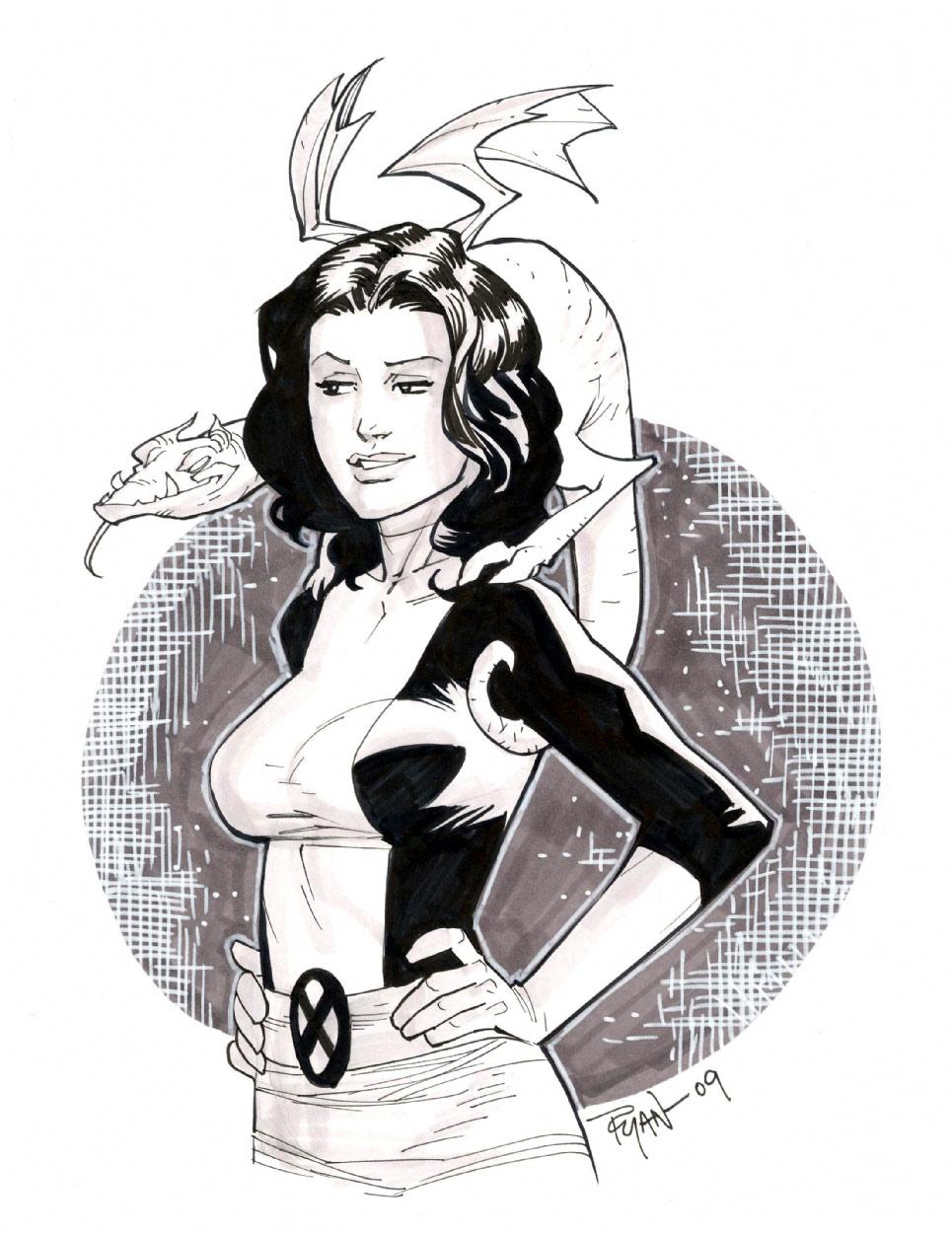 Kitty Pryde Lockheed sketch by RyanOttley
