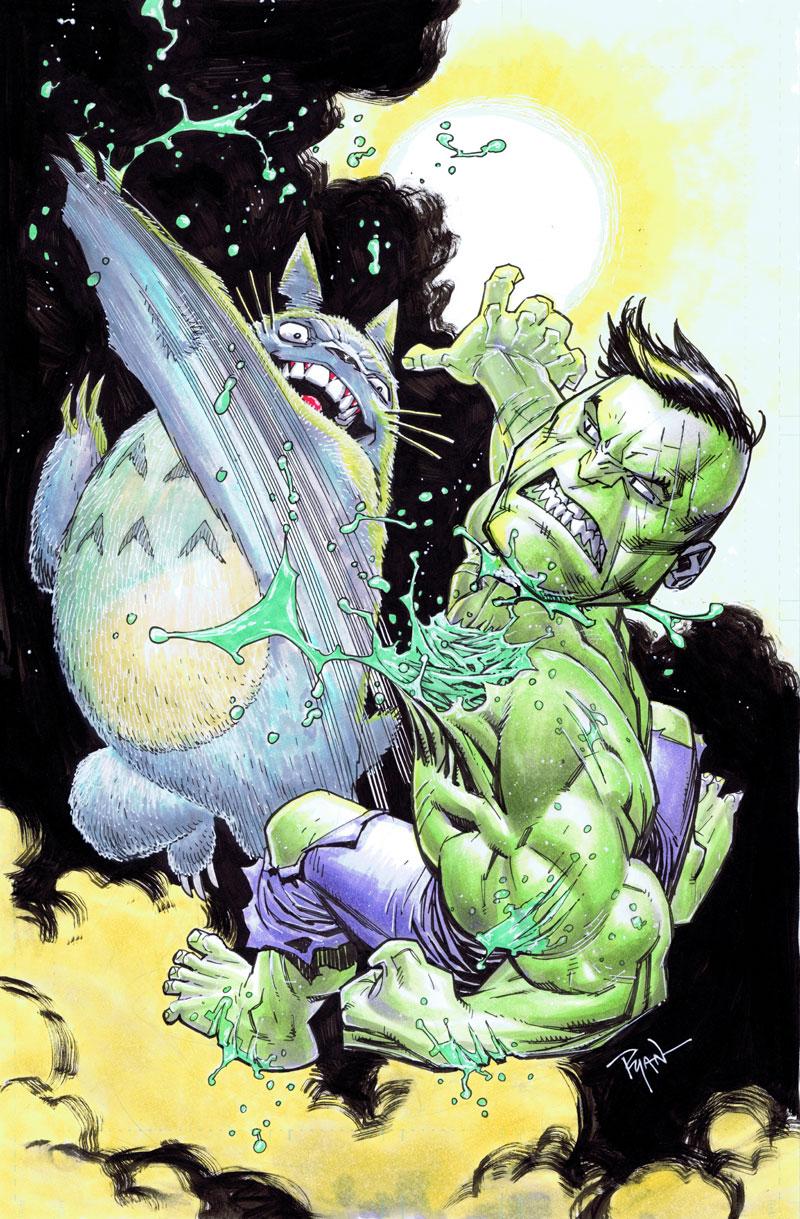 Hulk VS Totoro by RyanOttley