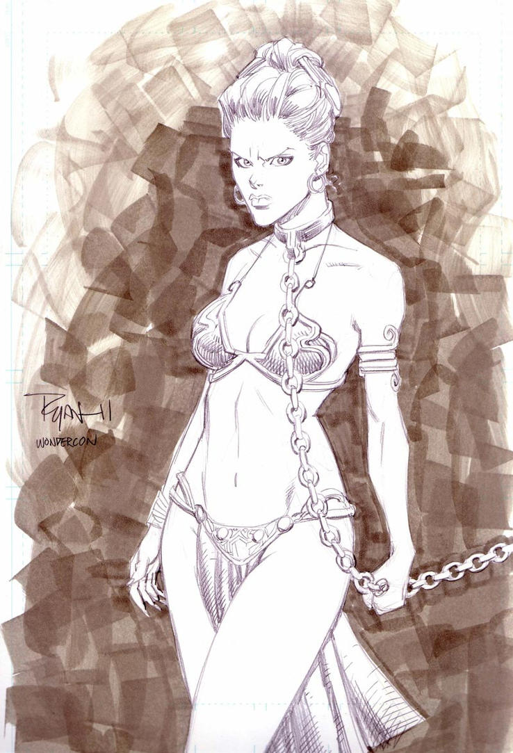 Slave Leia Wondercon sketch by RyanOttley