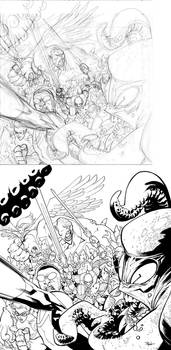 INVINCIBLE 92 cover pencil to ink