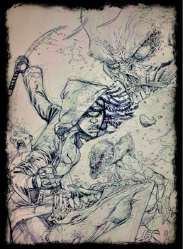 The Walking Dead 100 cover pencils