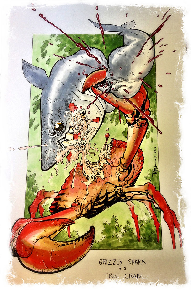 Shark vs Crab by RyanOttley