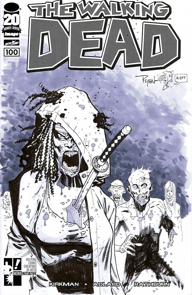 The Walking Dead 100 sketch cover by RyanOttley