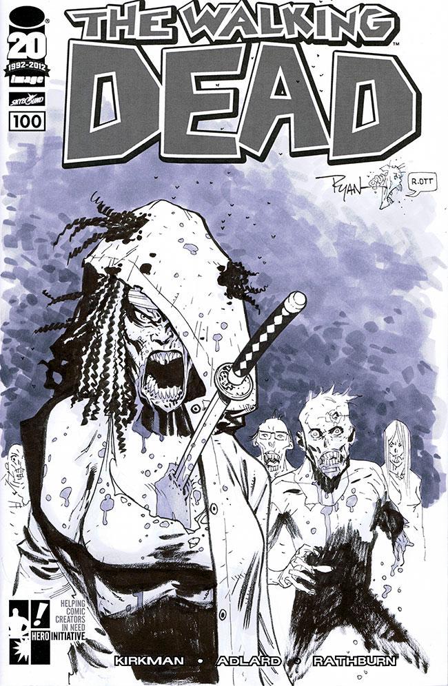 The Walking Dead 100 sketch cover by RyanOttley