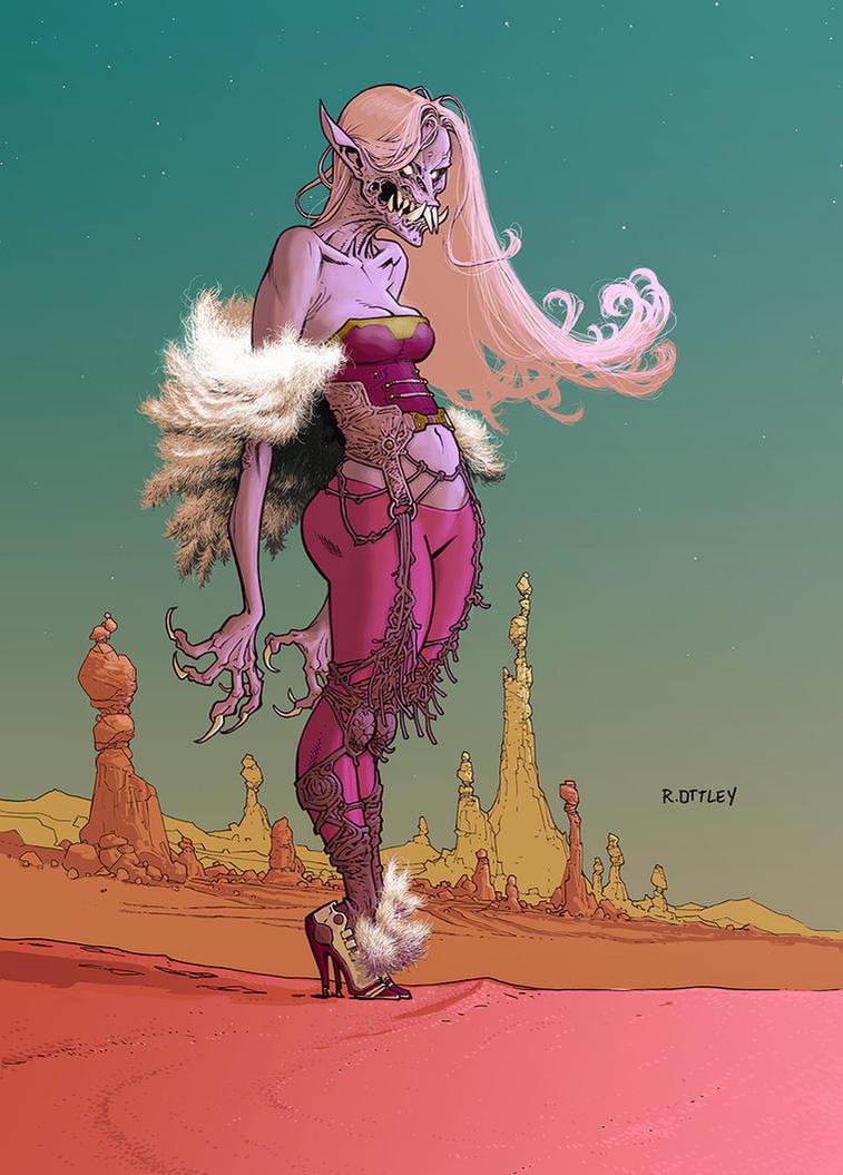 Monster dame in desert by RyanOttley