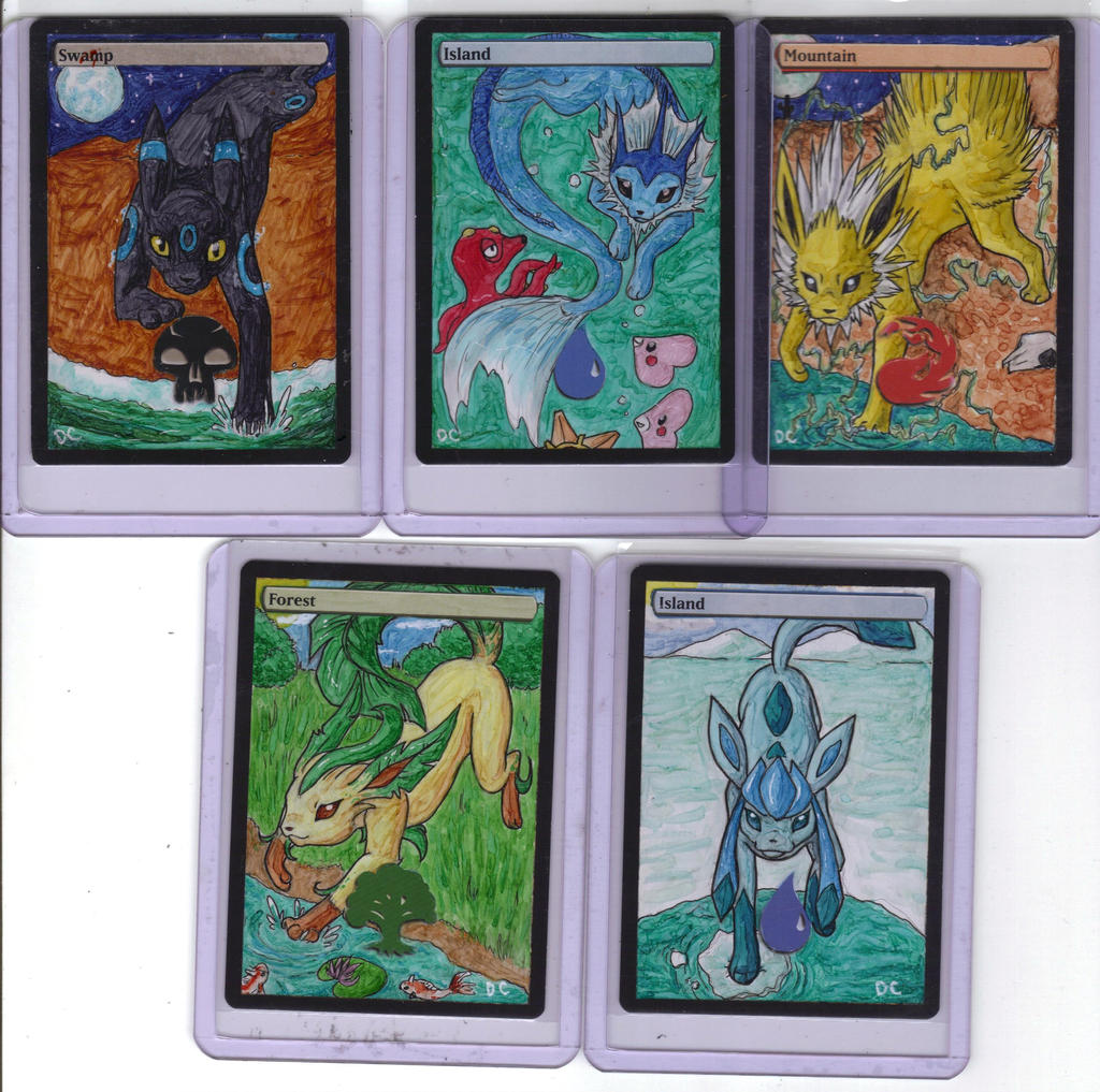 Eevee evolution full art land alters by Corvidraline