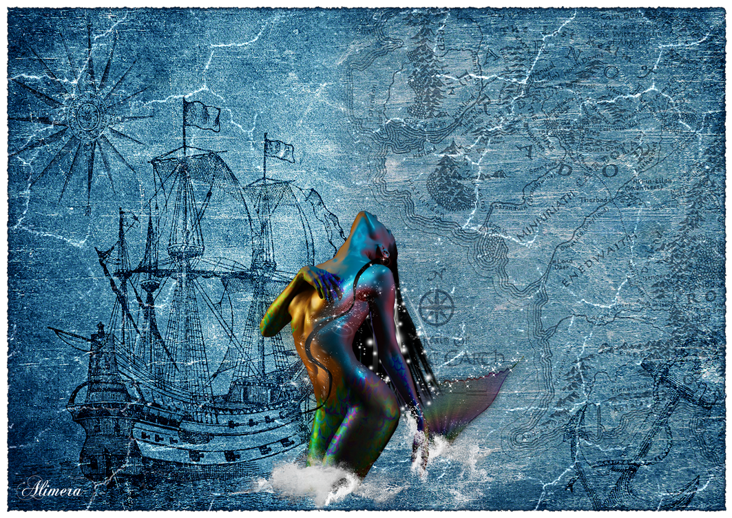 Mermaid on the old map by Alimera