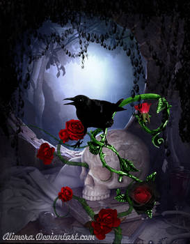 Crow and Roses