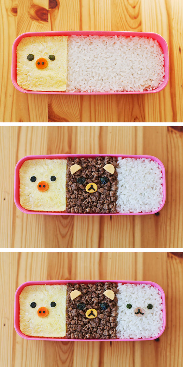 Kyaraben Kawaii Rilakkuma Soboro bento 3 colored! by kawaiikakkoiisugoi