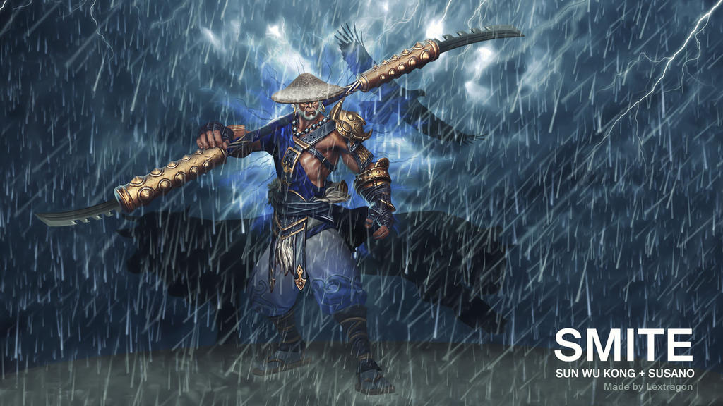smite sun wu kong susano crossover by lextragon on