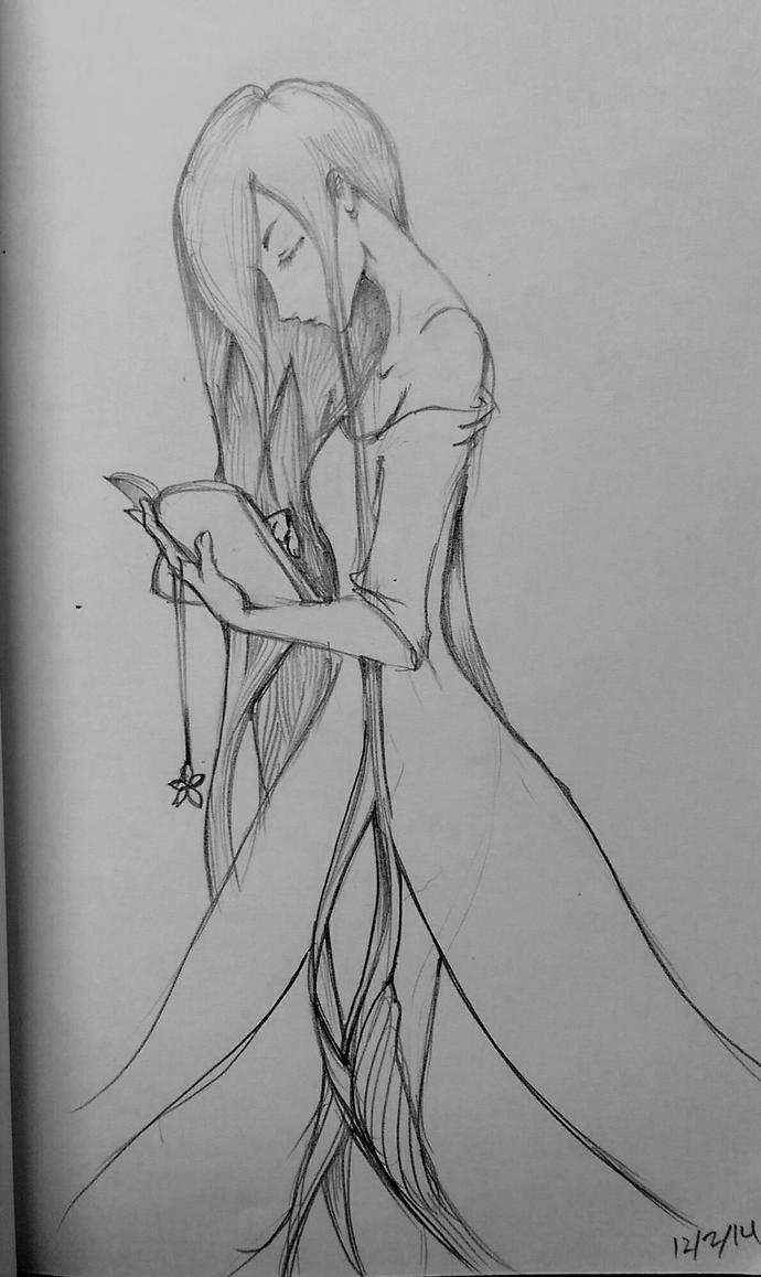 girl reading book of magic by Akemi14