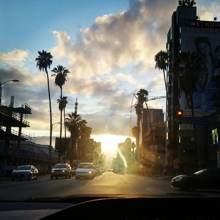 Hollywood sunset after the first rain of this year by Akemi14