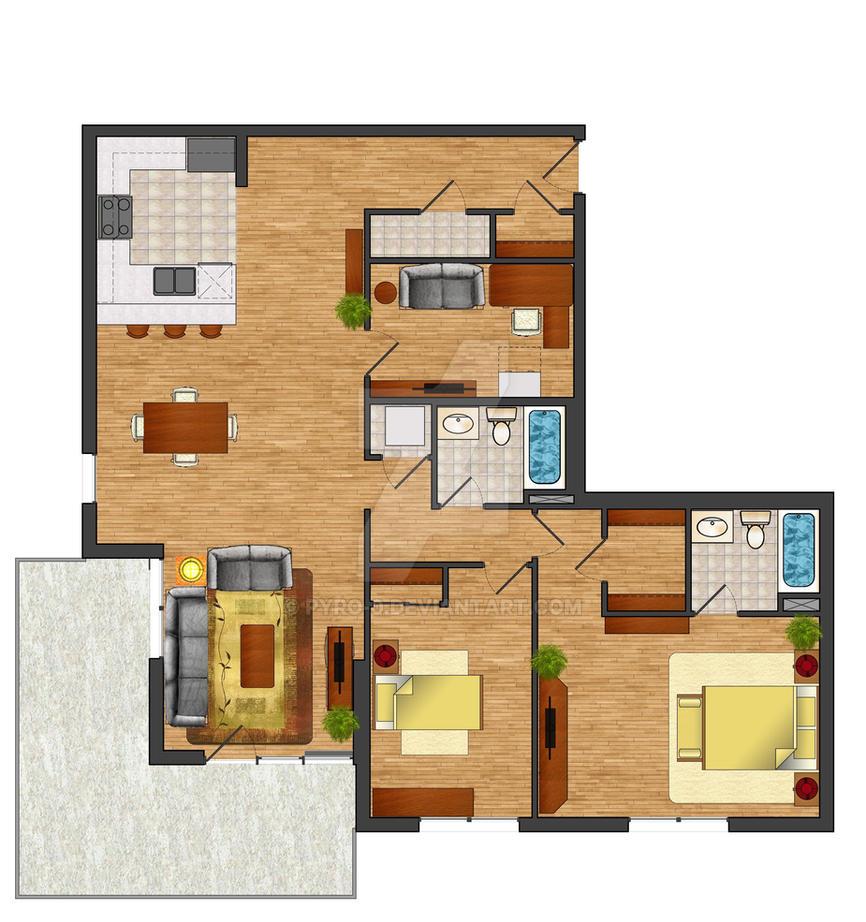 Rendered floor plan by pyro 0 on deviantart for Rendered floor plan