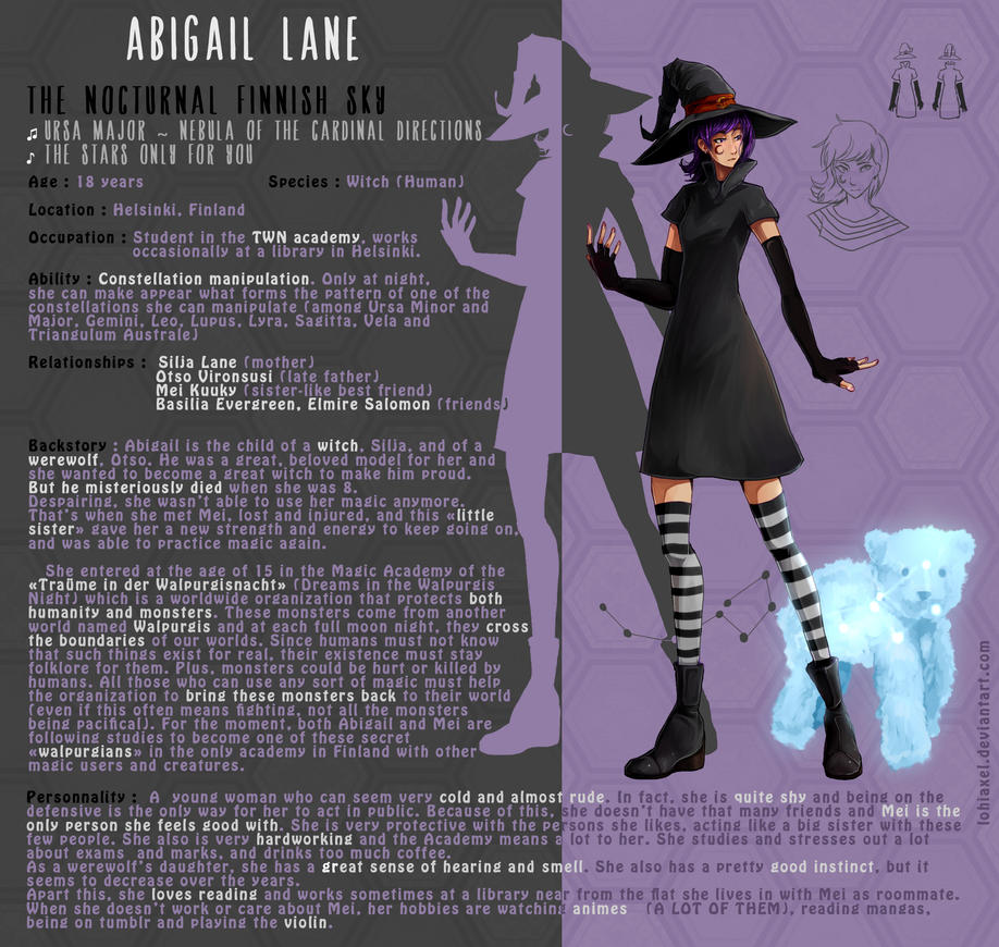 OC Character Sheet - Abigail Lane by LohiAxel