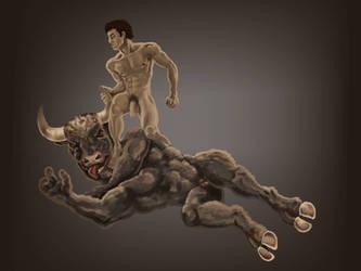 Theseus slays the minotaur by DevilAntRat