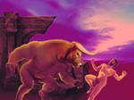 Fighting the minotaur by DevilAntRat