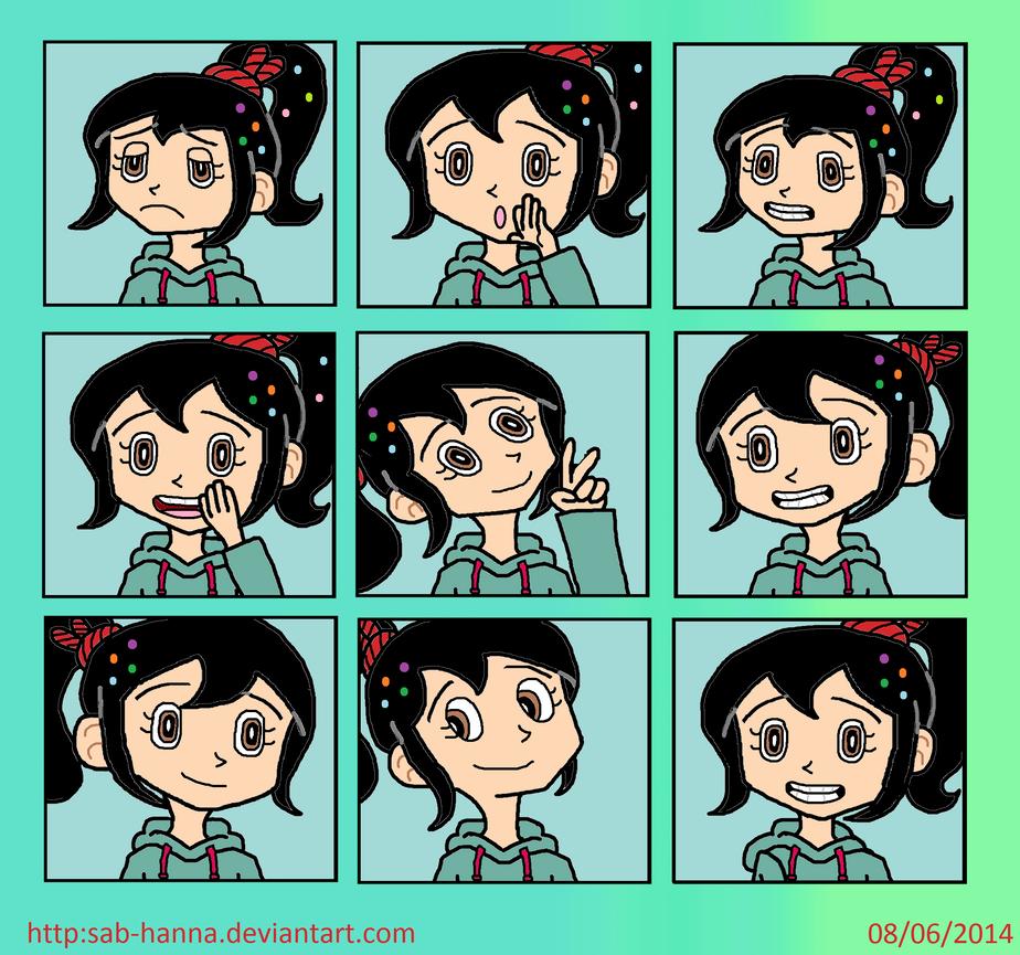 Vanellope von Schweetz Expressions Sheet by Sab-Hanna