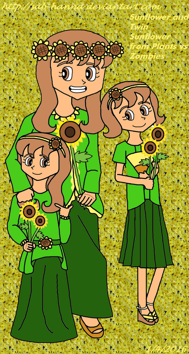 Plants vs Zombies : Sunflower and Twin Sunflower by Sab-Hanna
