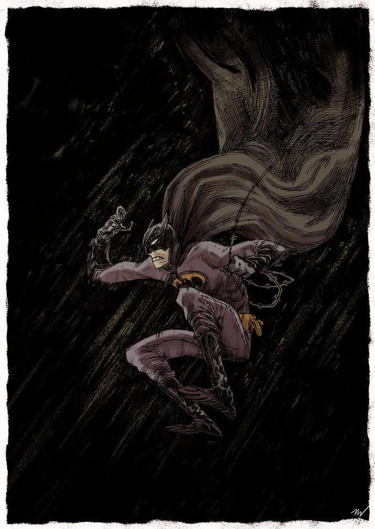 another falling batman by marklaszlo666
