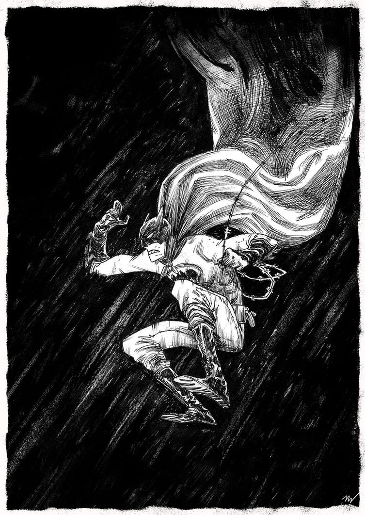 another falling batman original by marklaszlo666