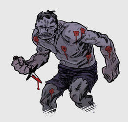 grey hulk with wounds and knife