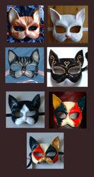 Cats - papier mache masks by xothique