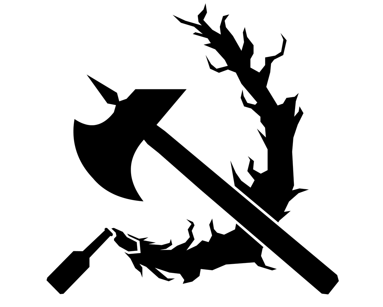 Public Domain Stencils : Stenciled molotov and axe by domain of the public on