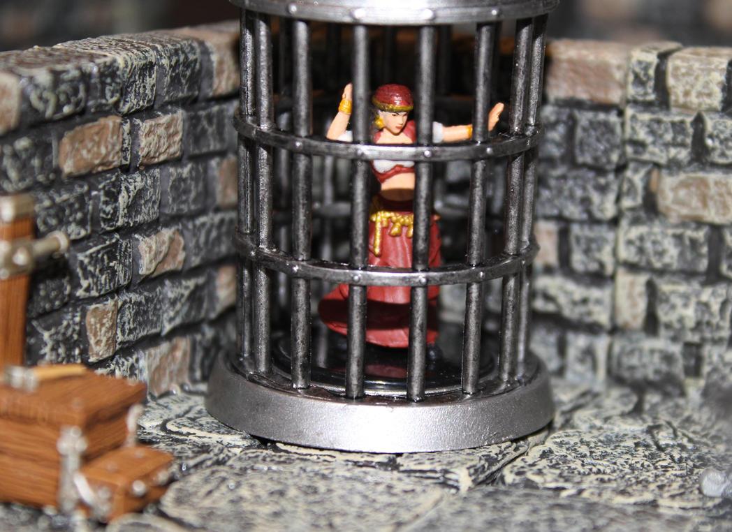 Pathfinder Harrowing Zellara in a cage by MrVergee