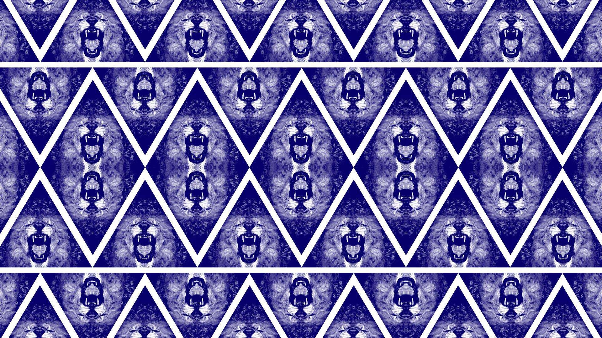 Blue Lion Triangle Bandana Pattern Wallpaper by cugini on DeviantArt