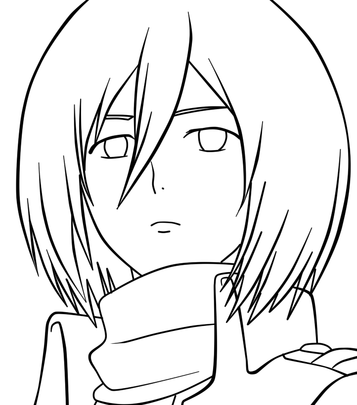 Attack on titan mikasa lineart by animemineus on deviantart for Attack on titan coloring pages