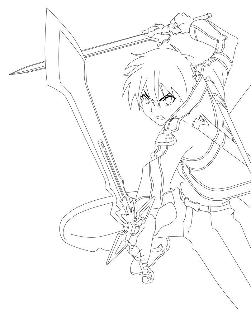 Sword art online kirito lineart by animemineus on deviantart for Sword art online coloring pages