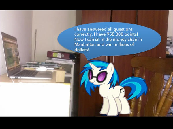 Vinyl Scratch playing Million Second Quiz Online by j4lambert