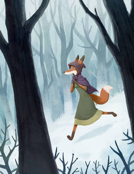 She ran down the forest slopes