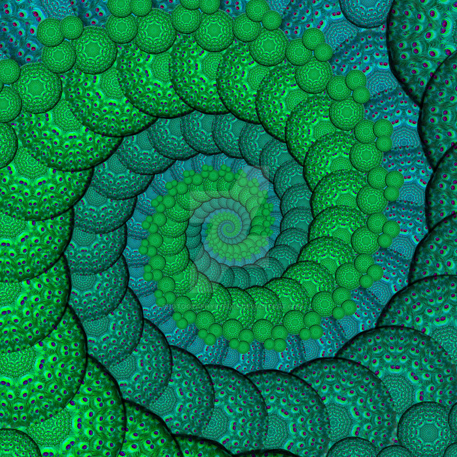 Peacock Feathers fractal Spiral in Blue and Green by ...